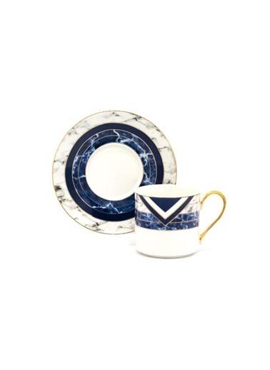 Sembol Mermer Mavi 6 Kişilik Çay Fincanı Renkli
